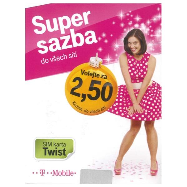 Předplacená SIM karta T-Mobile Twist s kreditem 10,- Kč, Neomezené volání na T-Mobile + 100 MB dat