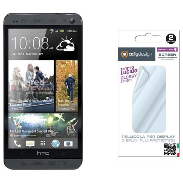 Ochranná fólie displeje CELLY Screen Protector pro HTC One, 2ks, lesklá