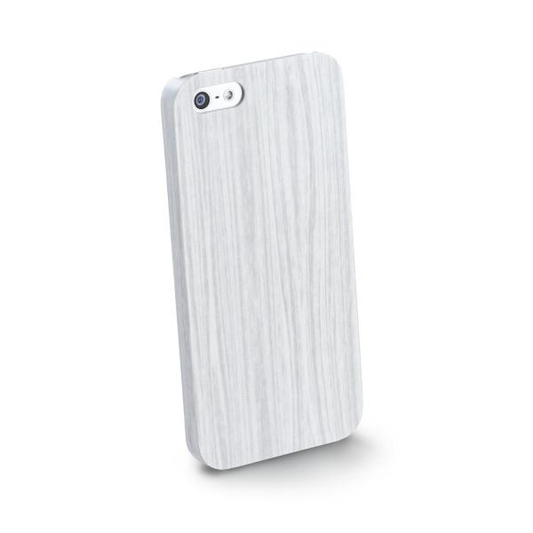 Zadní ochranný kryt CellularLine Wood pro Apple iPhone 5/5S, bilý