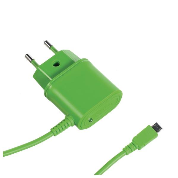 Cestovní nabíječka CELLY s konektorem microUSB, 1A, zelená, blister