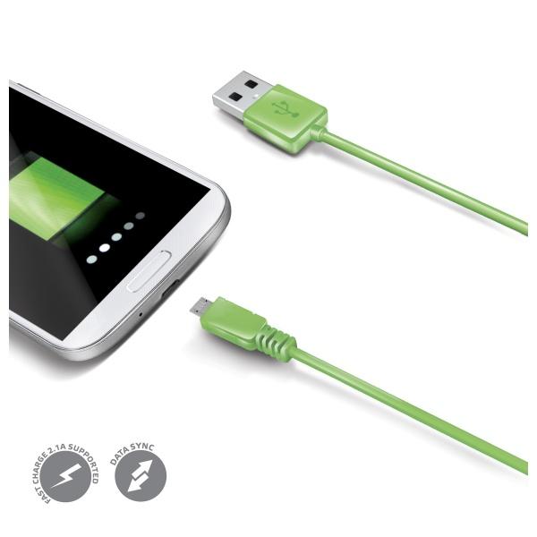 Datový USB kabel CELLY s konektorem microUSB, zelený