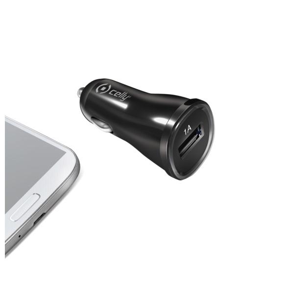 CL autonabíječka CELLY s USB výstupem, 1A, černá