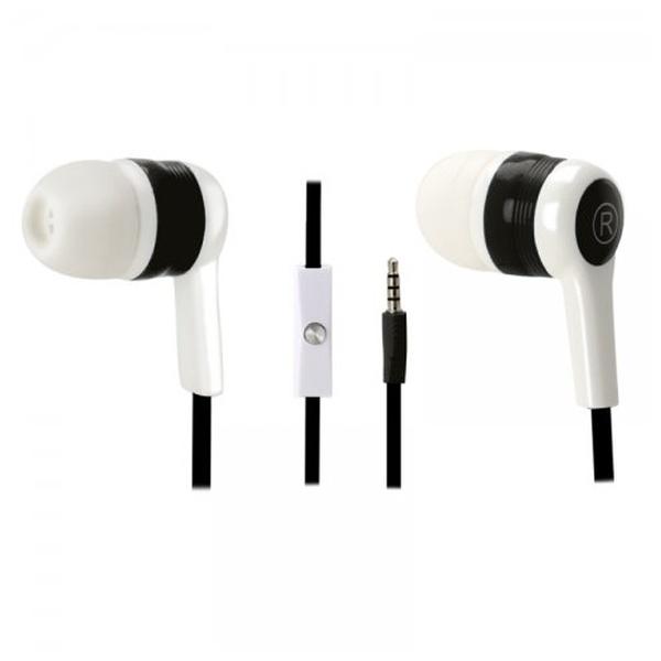 Stereo sluchátka Fontastic s funkcí handsfree, 3,5 mm jack, černo-bílé