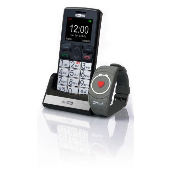 Mobilní telefon pro seniory MAXCOM MM715, SOS náramek, černý