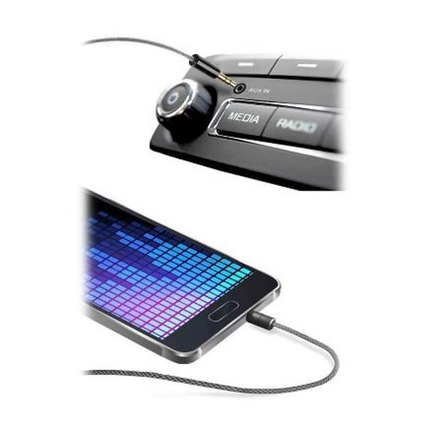 Audio kabel CellularLine Aux Music Cable Pro, odolná úprava, 2x jack 3,5mm