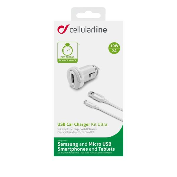Autonabíječka CellularLine s datovým kabelem a konektorem microUSB, 2A