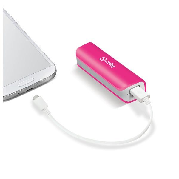 Powerbanka CELLY s USB výstupem a microUSB kabelem, 2600 mAh, 1A, růžová