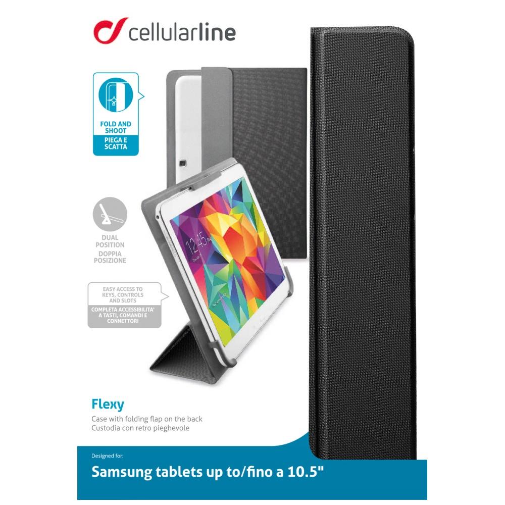 """Univerzální pouzdro se stojánkem CellularLine FLEXY pro tablety Samsung do velikosti 10,5"""", černé"""