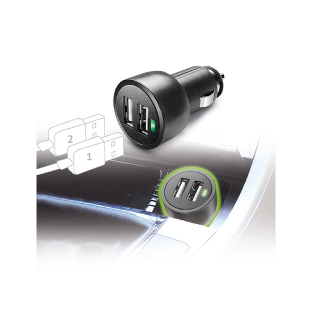 Miniaturní autonabíječka CellularLine Dual s konektory 2x USB, 3,1A, černá