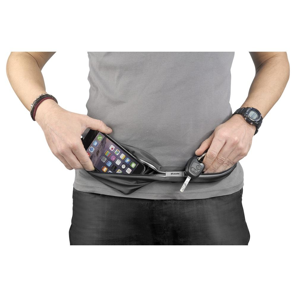 Sportovní pouzdro CellularLine WAISTBAND RUNNING s kapsou na příslušenství, univerzální velikost, černé