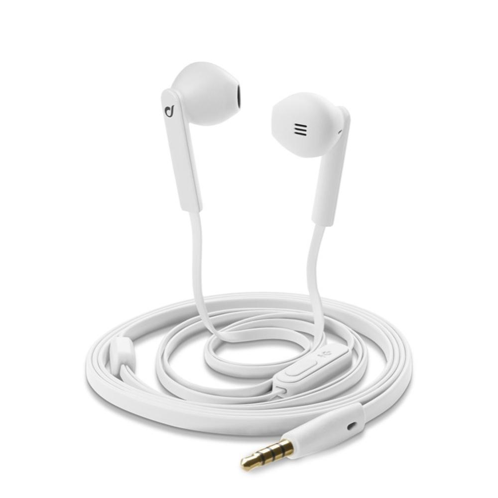 In-ear sluchátka CellularLine MANTIS s mikrofonem, soft materiál, 3,5 mm jack, plochý kabel, bílá