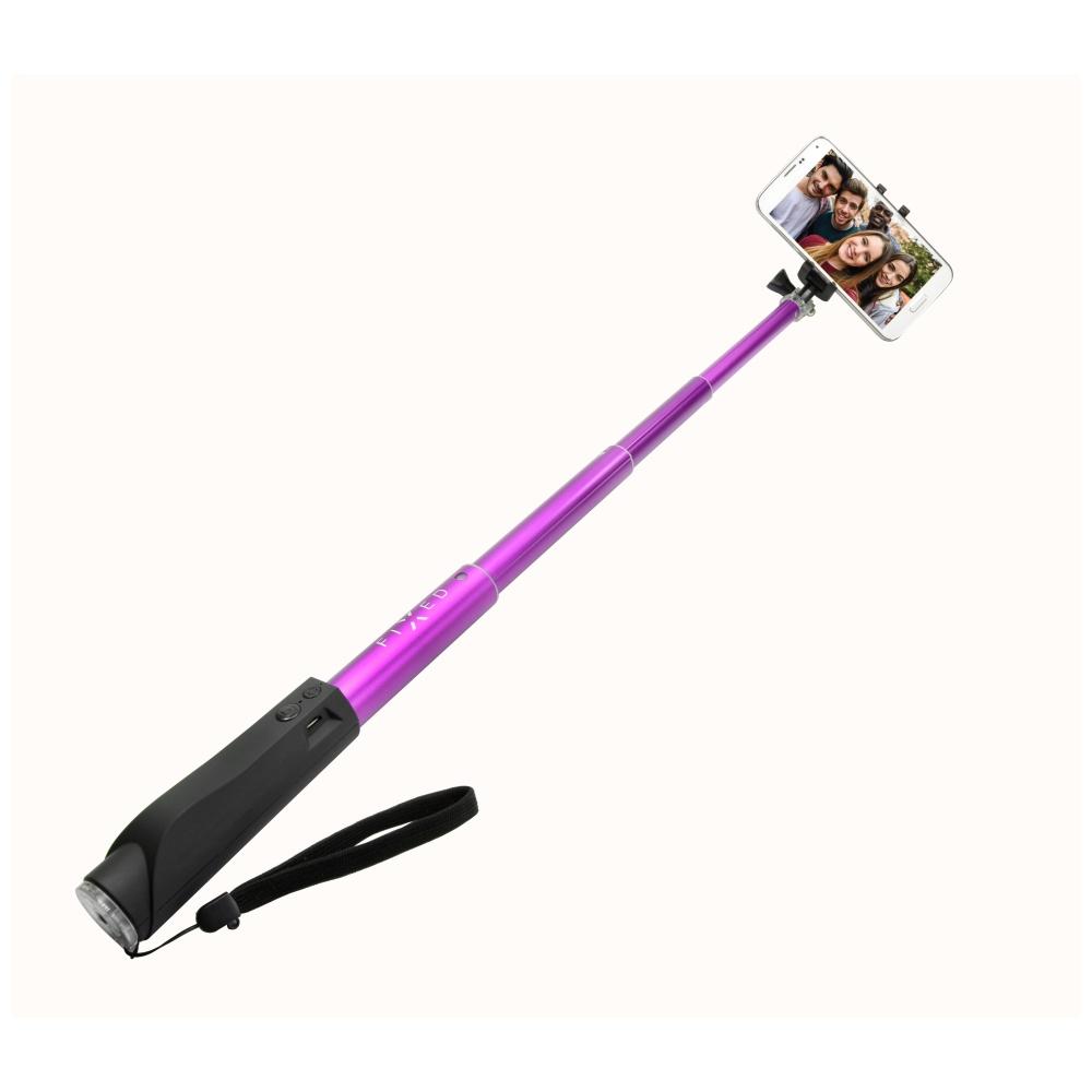 Teleskopický selfie stick FIXED v luxusním hliníkovém provedení s BT spouští, růžový
