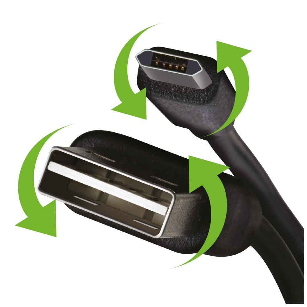 Oboustranný datový USB kabel CELLY s konektorem microUSB (Reversibilní USB i microUSB)