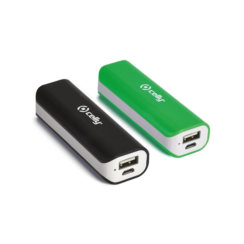 Dvě powerbanky CELLY s USB výstupem, 2200 mAh, 1 A, černá a zelená