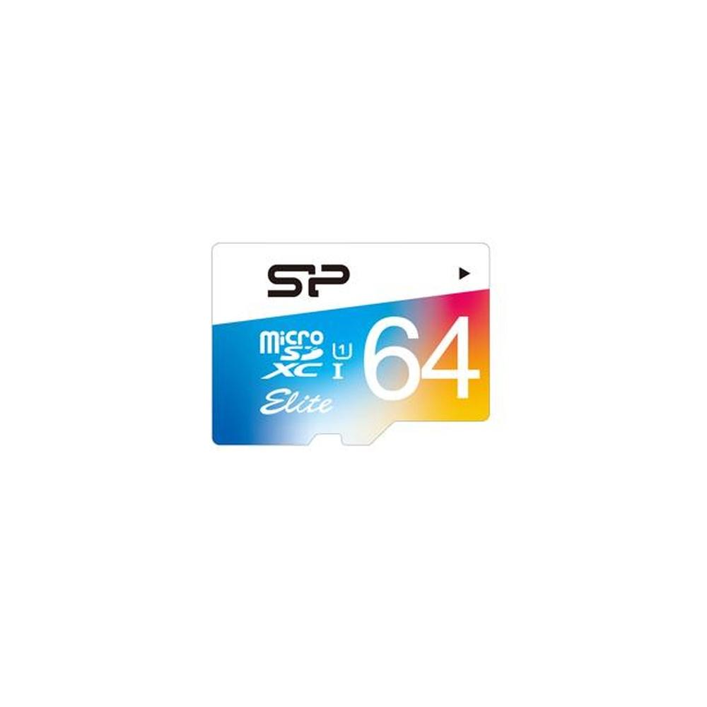Paměťová karta Silicon Power ELITE COLORFUL microSDXC, UHS-1, C10, 64GB + adaptér SD