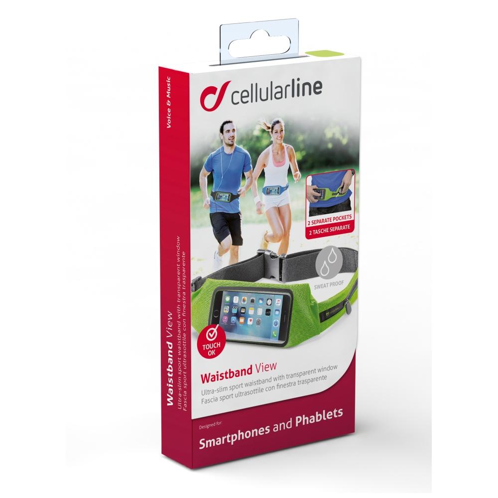 Sportovní pouzdro CellularLine WAISTBAND RUNNING s průhledem, univerzální velikost, limetková