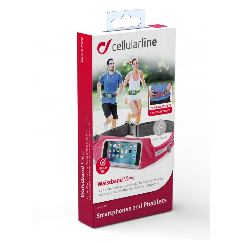 Sportovní pouzdro CellularLine WAISTBAND RUNNING s průhledem, univerzální velikost, růžová