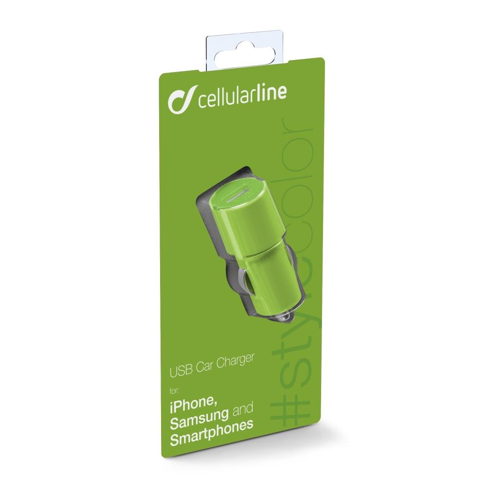 STYLE&COLOR autonabíječka Cellularline s konektorem USB, 1A, zelená