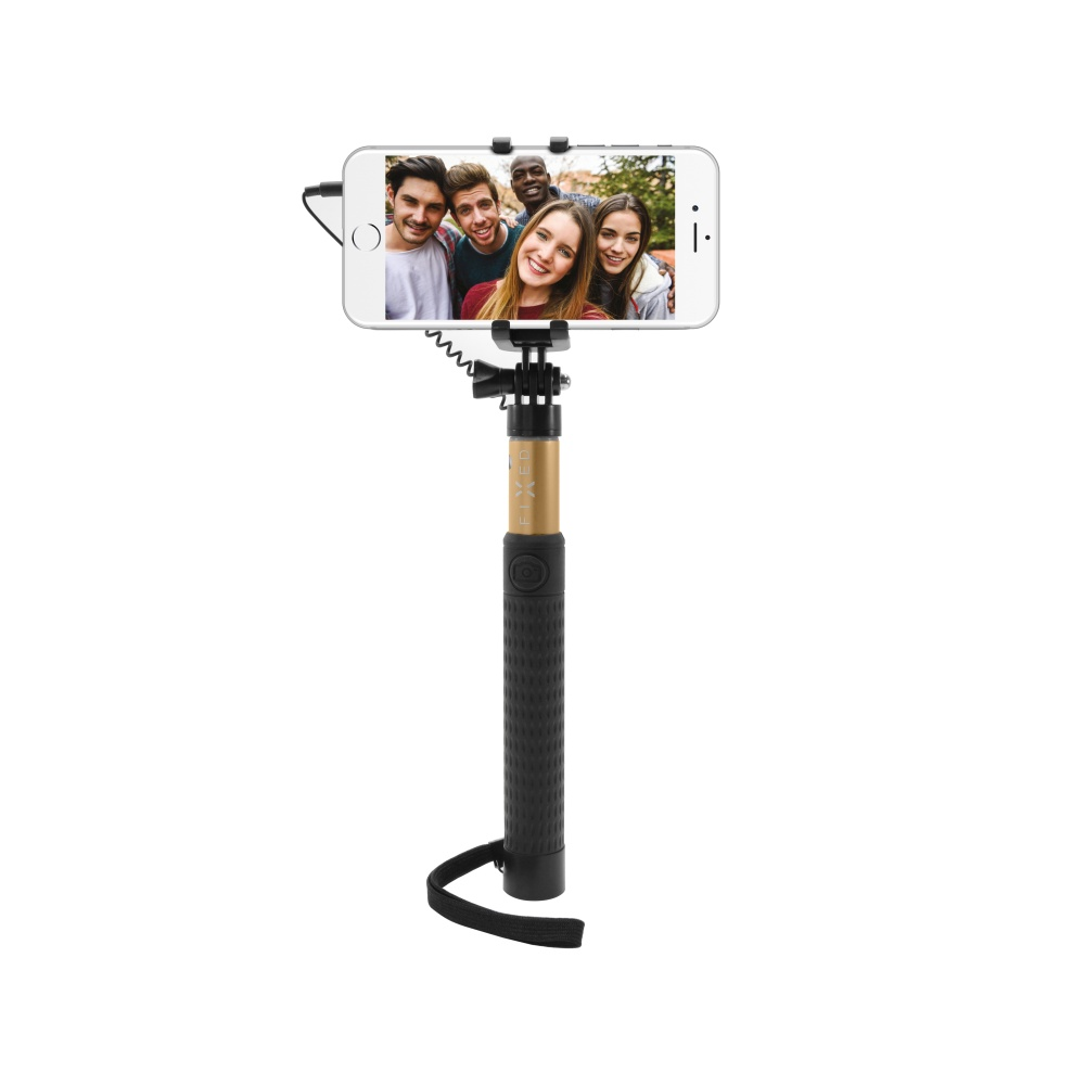 Teleskopický selfie stick FIXED v luxusním hliníkovém provedení, 3,5 mm jack, zlatý