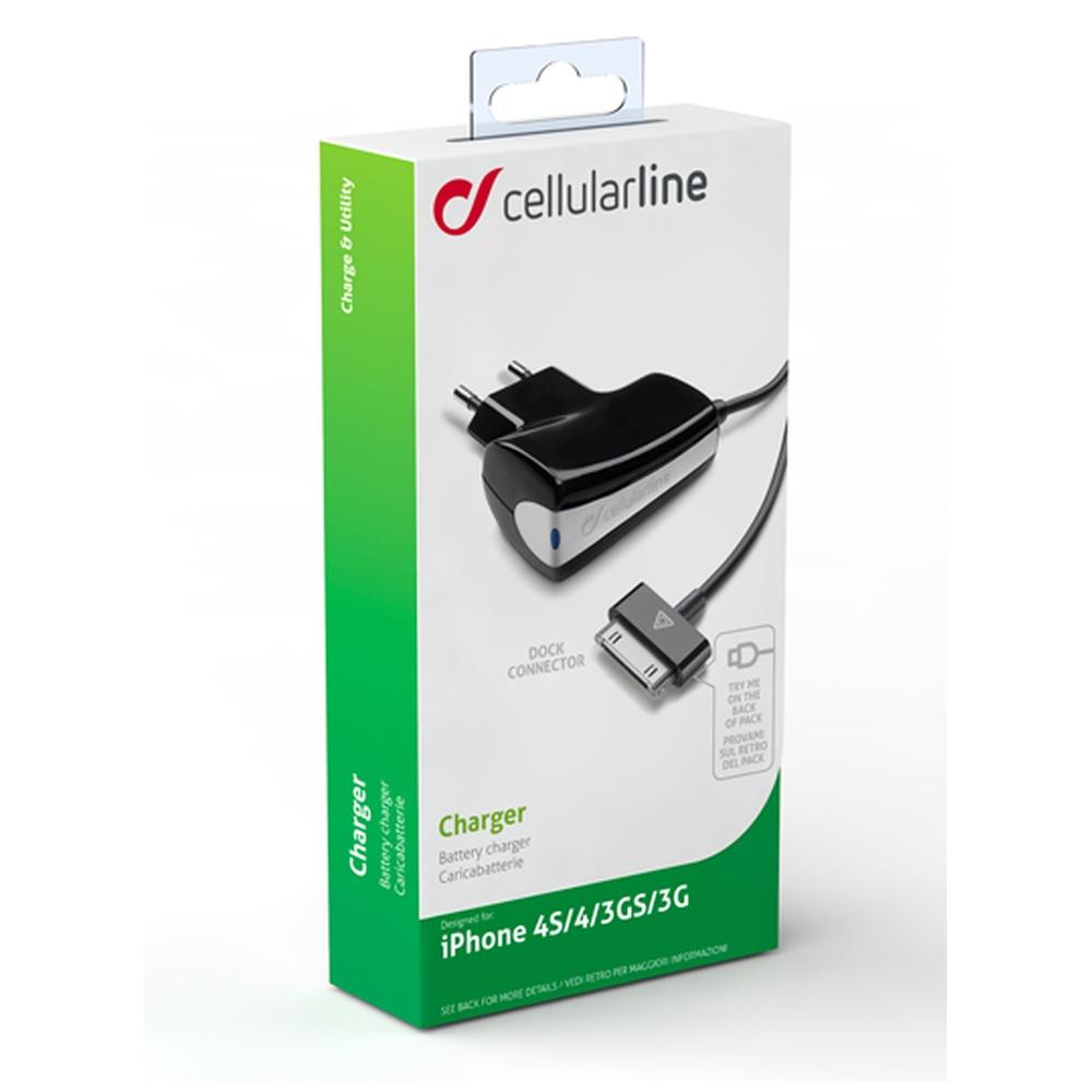 Cestovní nabíječka Cellularline s konektorem Apple iPhone 4/4S, 1A, bílá