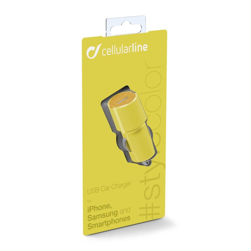 STYLE&COLOR autonabíječka Cellularline s konektorem USB, 1A, žlutá