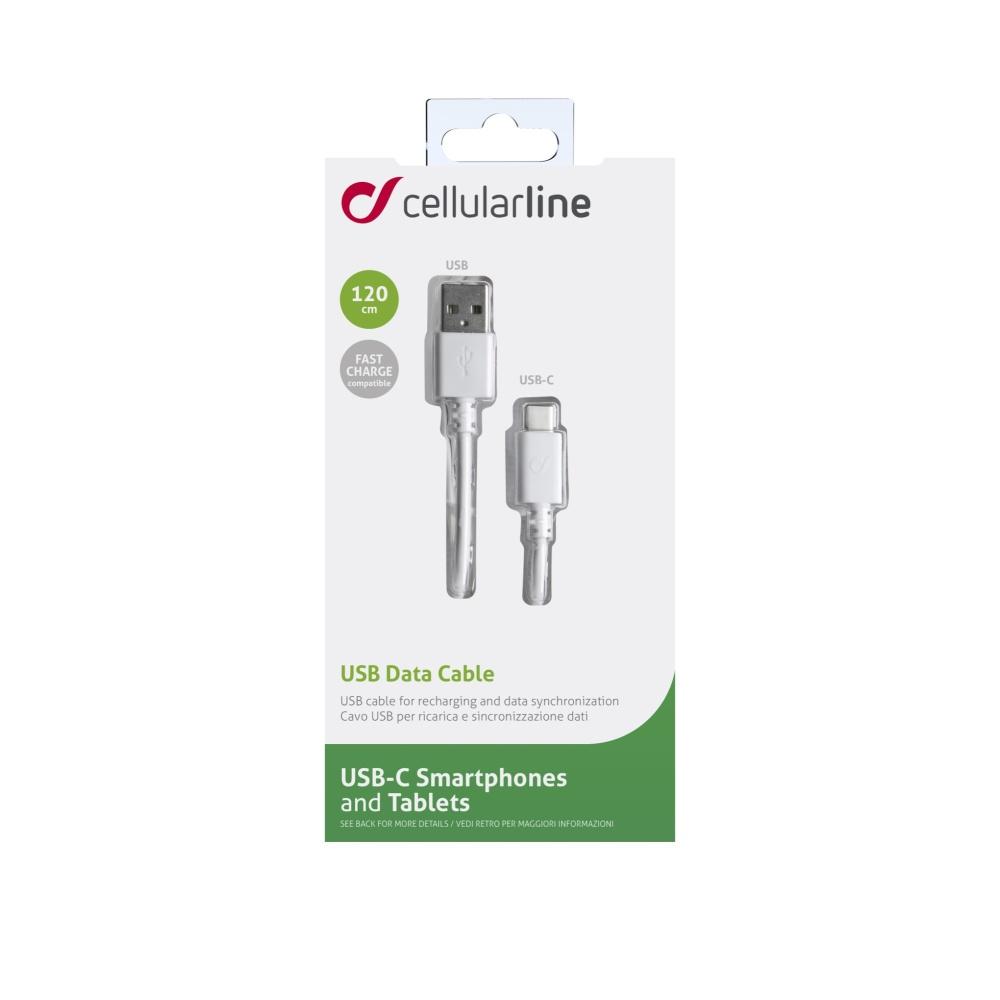 Datový kabel CELLULARLINE s konektory USB-A a USB-C, 1,2m, bílý