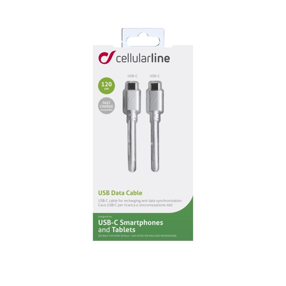 Datový kabel CELLULARLINE s konektory 2x USB-C, 1,2m, bílý