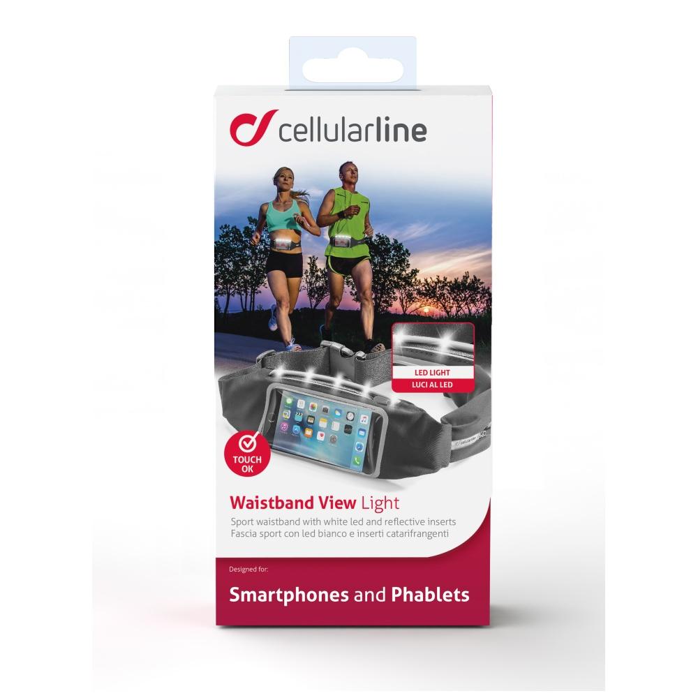 Sportovní pouzdro CellularLine WAISTBAND RUNNING s průhledem a LED diodami, univerzální velikost, černé