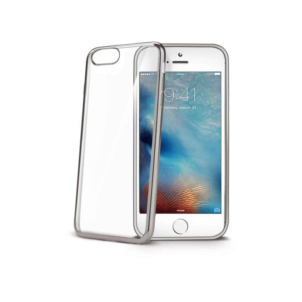 TPU pouzdro CELLY Laser - lemování s kovovým efektem pro Apple iPhone 7/8, stříbrné