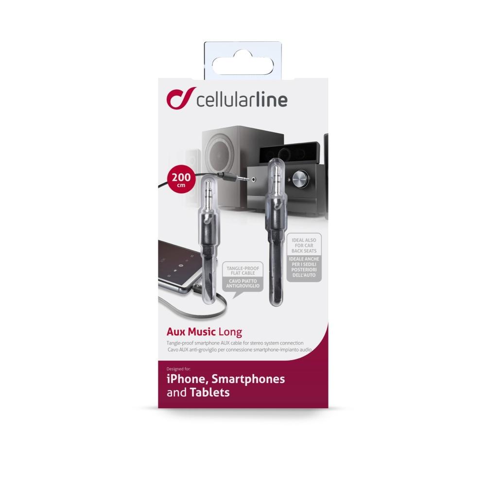 Audio kabel CellularLine MUSIC, délka 2m, plochý, 2x jack 3,5mm, černý