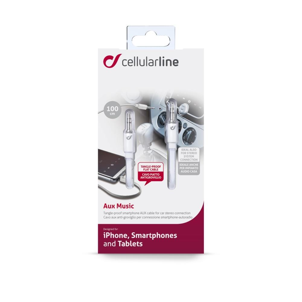 Audio kabel CellularLine MUSIC, plochý, 2x jack 3,5mm, bílý