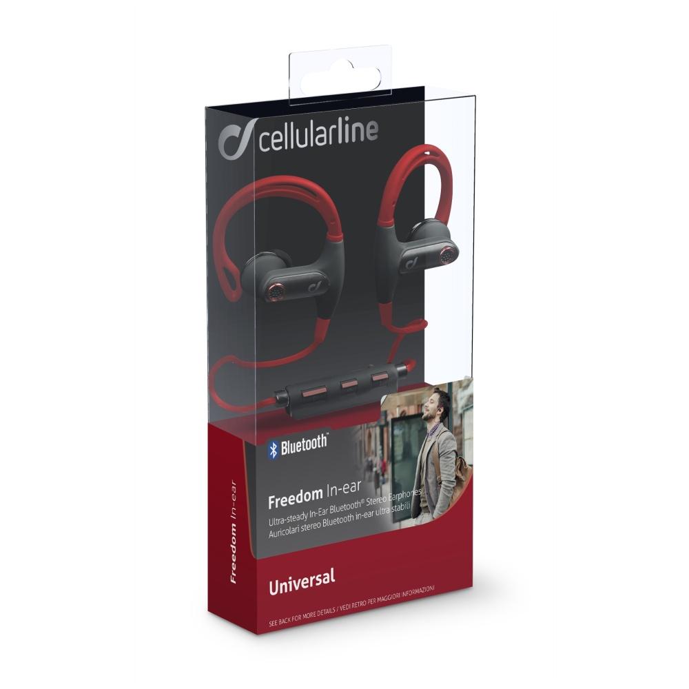 Bezdrátová In-ear stereo sluchátka Cellularline FREEDOM, červeno-černá