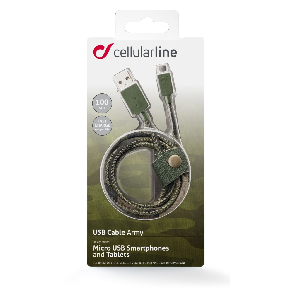Datový kabel Cellularline LONGLIFE, microUSB, textilní obal, design Camouflage