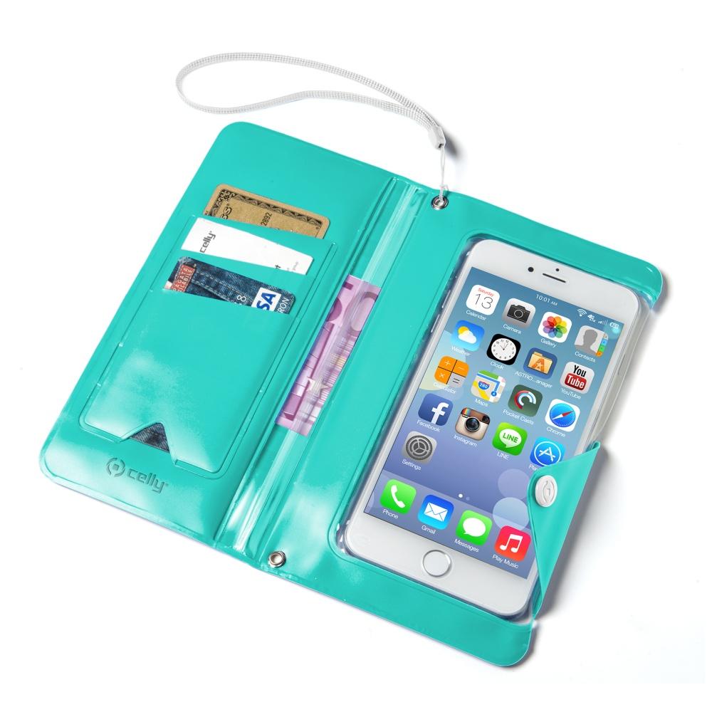 """Univerzální voděodolné pouzdro s peněženkou CELLY Splash Wallet pro telefony 5,7 """", tyrkysové"""