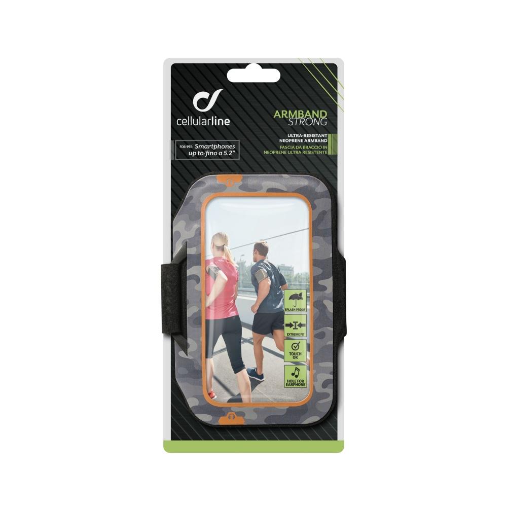 """Sportovní neoprénové pouzdro CellularLine ARMBAND STRONG, SUMMER EDITION, do velikosti 5,2"""", design Camou"""