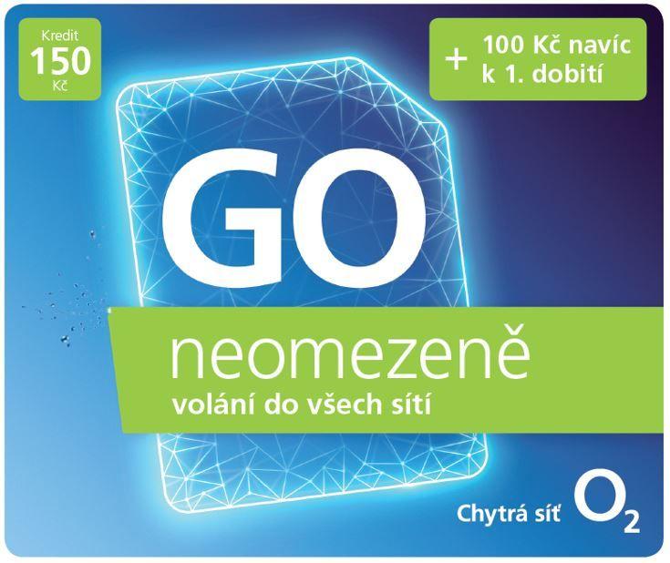 Předplacená SIM karta O2 s kreditem 150 Kč + 100 Kč navíc, neomezené volání a internet za 20 Kč/den