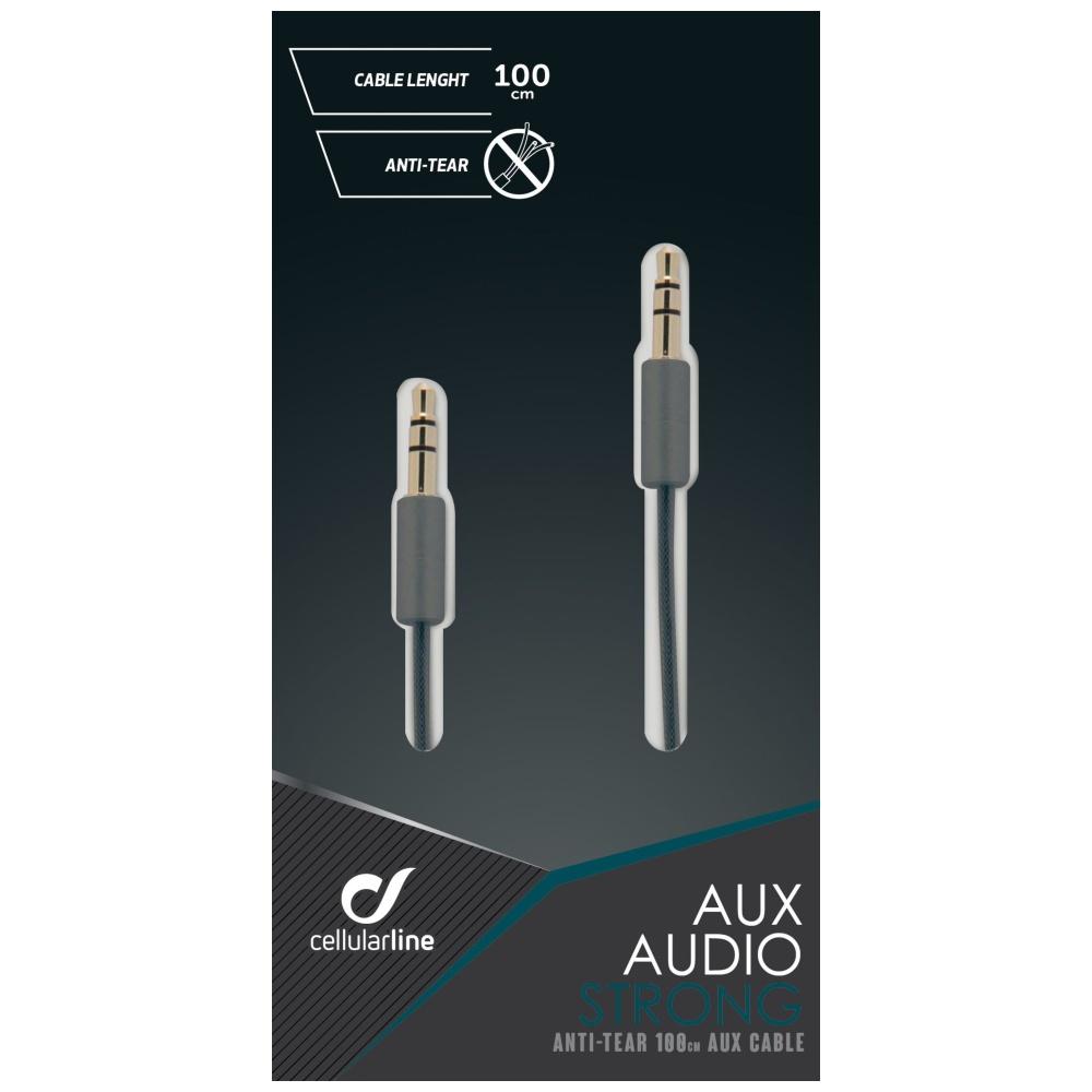 Odolný audio kabel CELLULARLINE AUX AUDIO STRONG, AQL® certifikace, 2 x 3,5mm jack