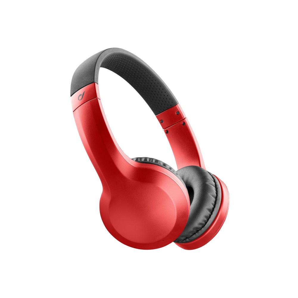 Bezdrátová sluchátka CELLULARLINE AKROS, AQL® certifikace, extra basy, červené