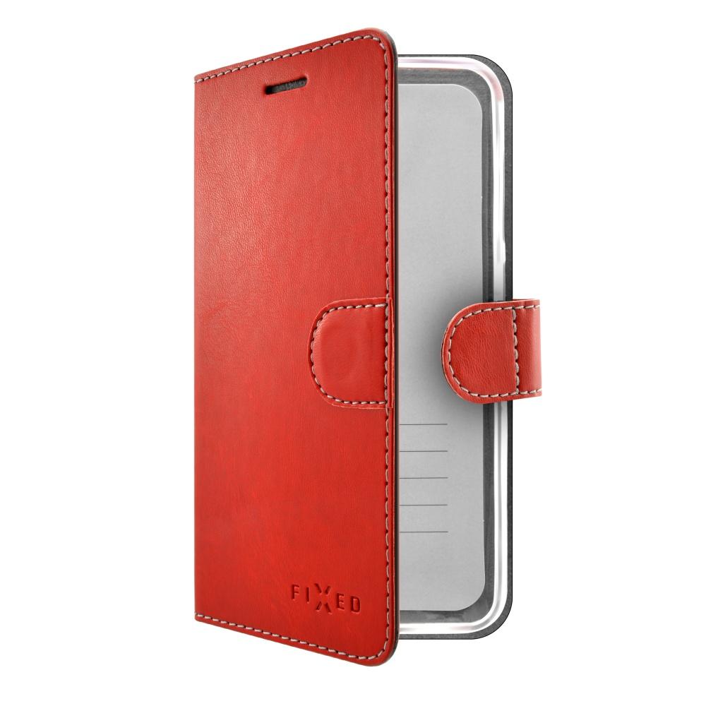 Pouzdro typu kniha FIXED FIT pro Apple iPhone X, červené