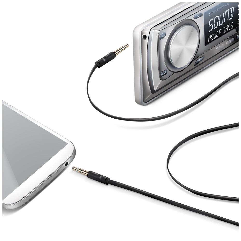Audio kabel CELLY 2 x 3,5mm jack, plochý, černý