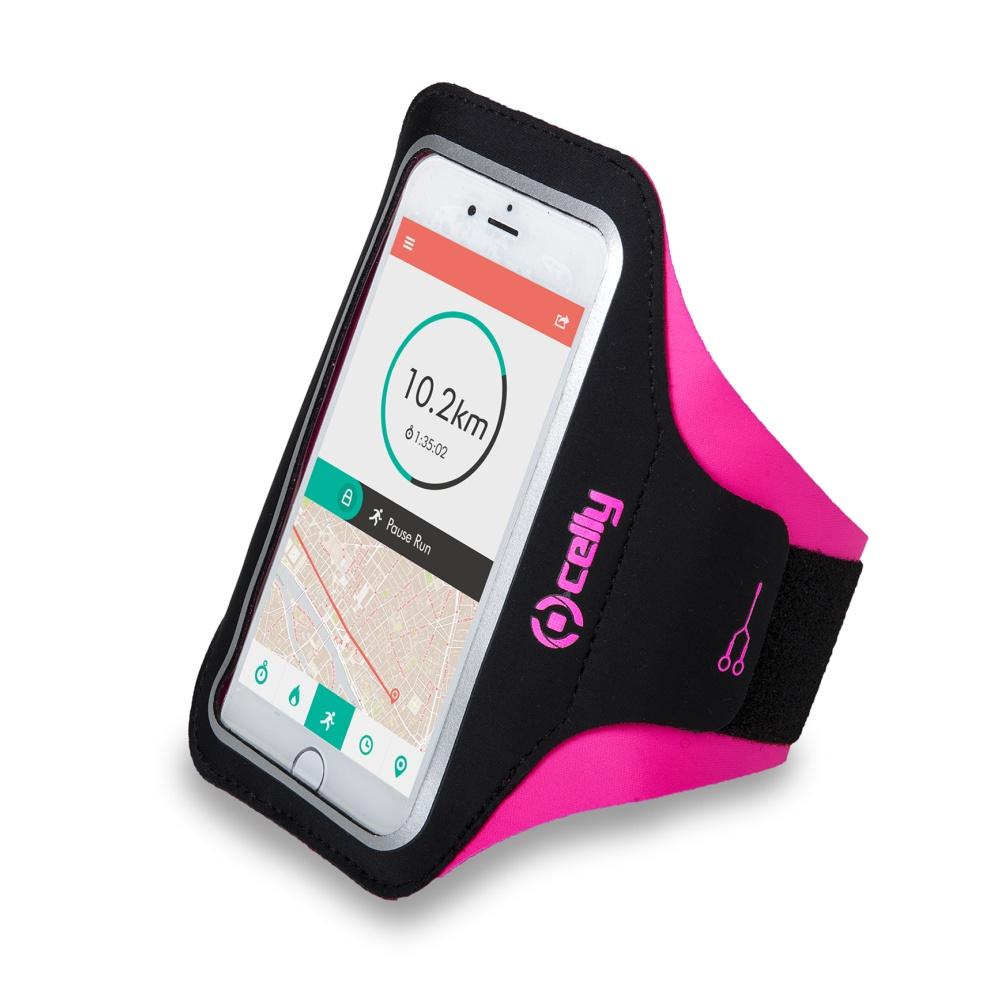"""Sportovní neoprénové pouzdro CELLY ARMBAND, velikost XXL pro telefony do 6,2"""", růžové"""