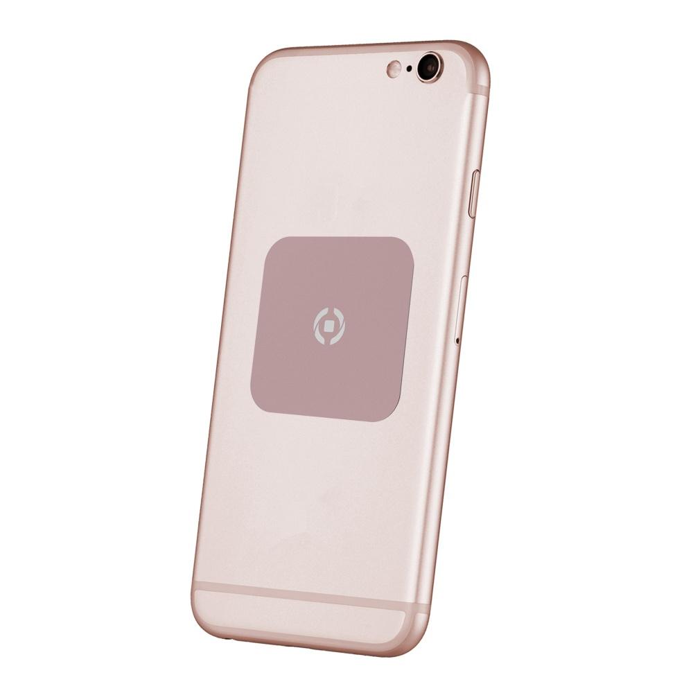 Plíšky CELLY GHOSTPLATE kompatibilní s magnetickými držáky pro mobilní telefony, růžovozlatý