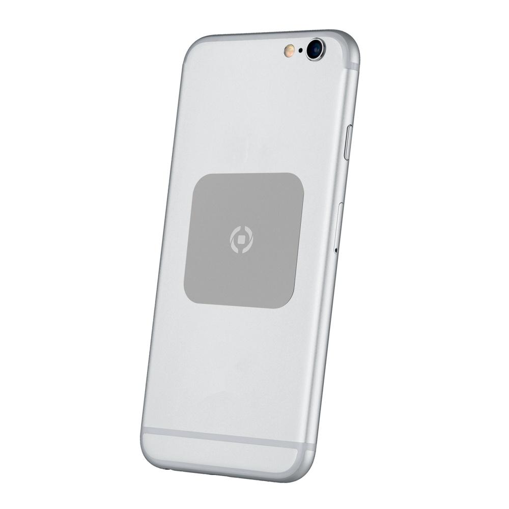 Plíšky CELLY GHOSTPLATE kompatibilní s magnetickými držáky pro mobilní telefony, stříbrný
