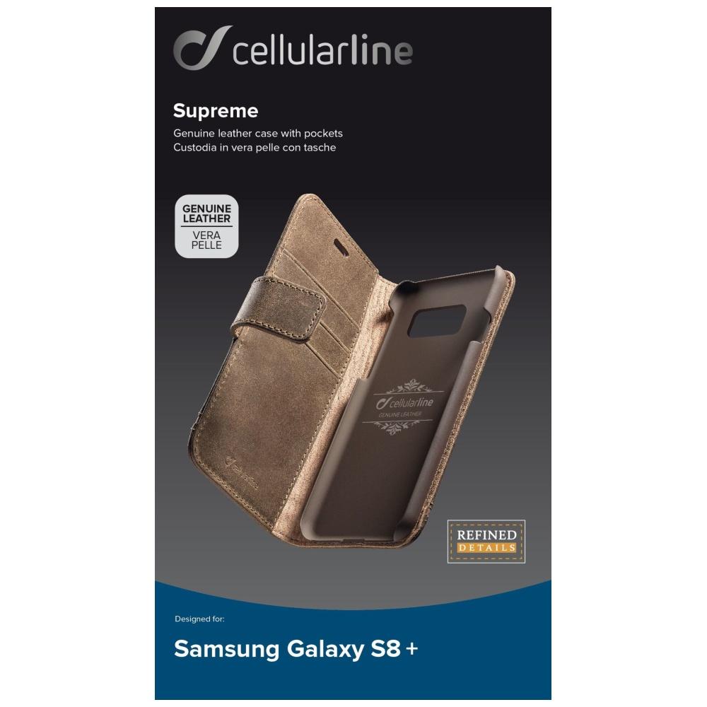 Prémiové kožené pouzdro typu kniha Supreme pro Samsung Galaxy S8 Plus, hnědé