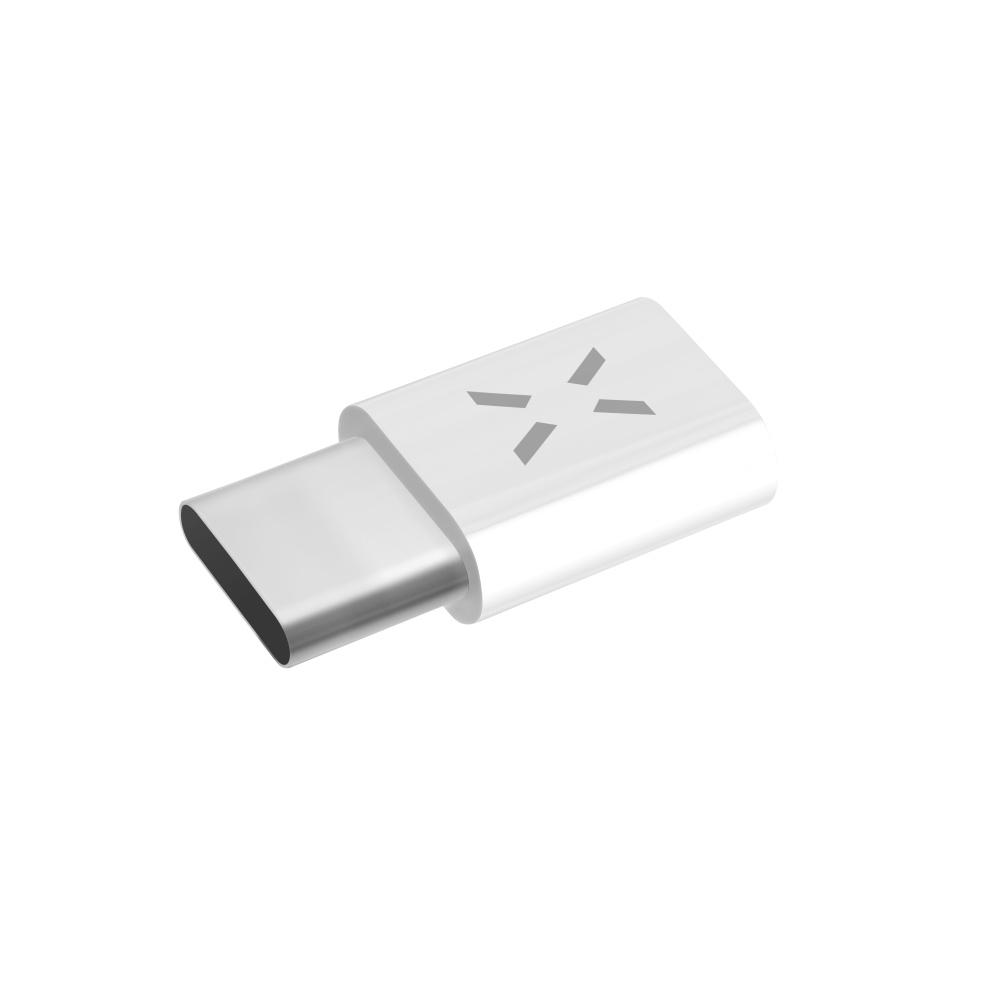 Redukce FIXED pro nabíjení a datový přenos z micro USB na USB-C 2.0, bílá