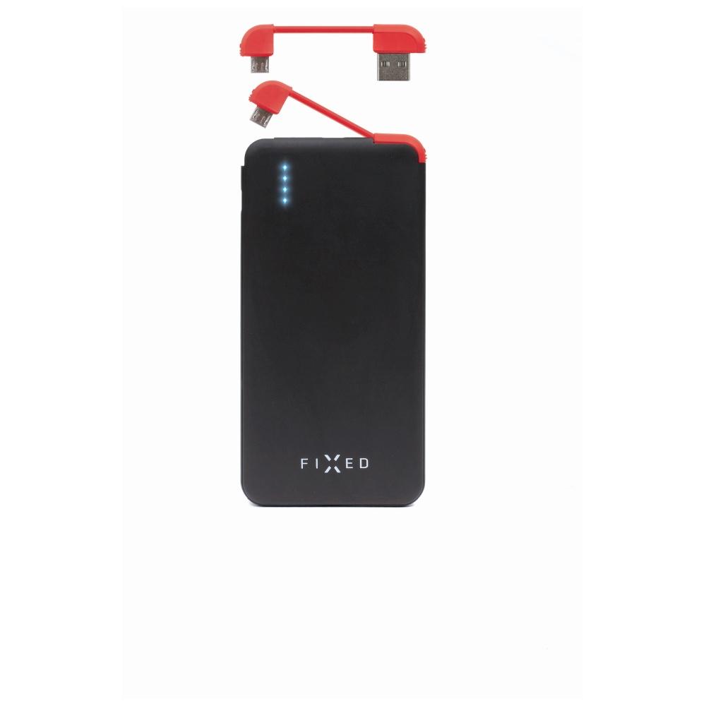 Powerbanka FIXED Zen Slim 5000 s microUSB kabelem a adaptéry USB Type-C + Lightning, 5000 mAh, černá