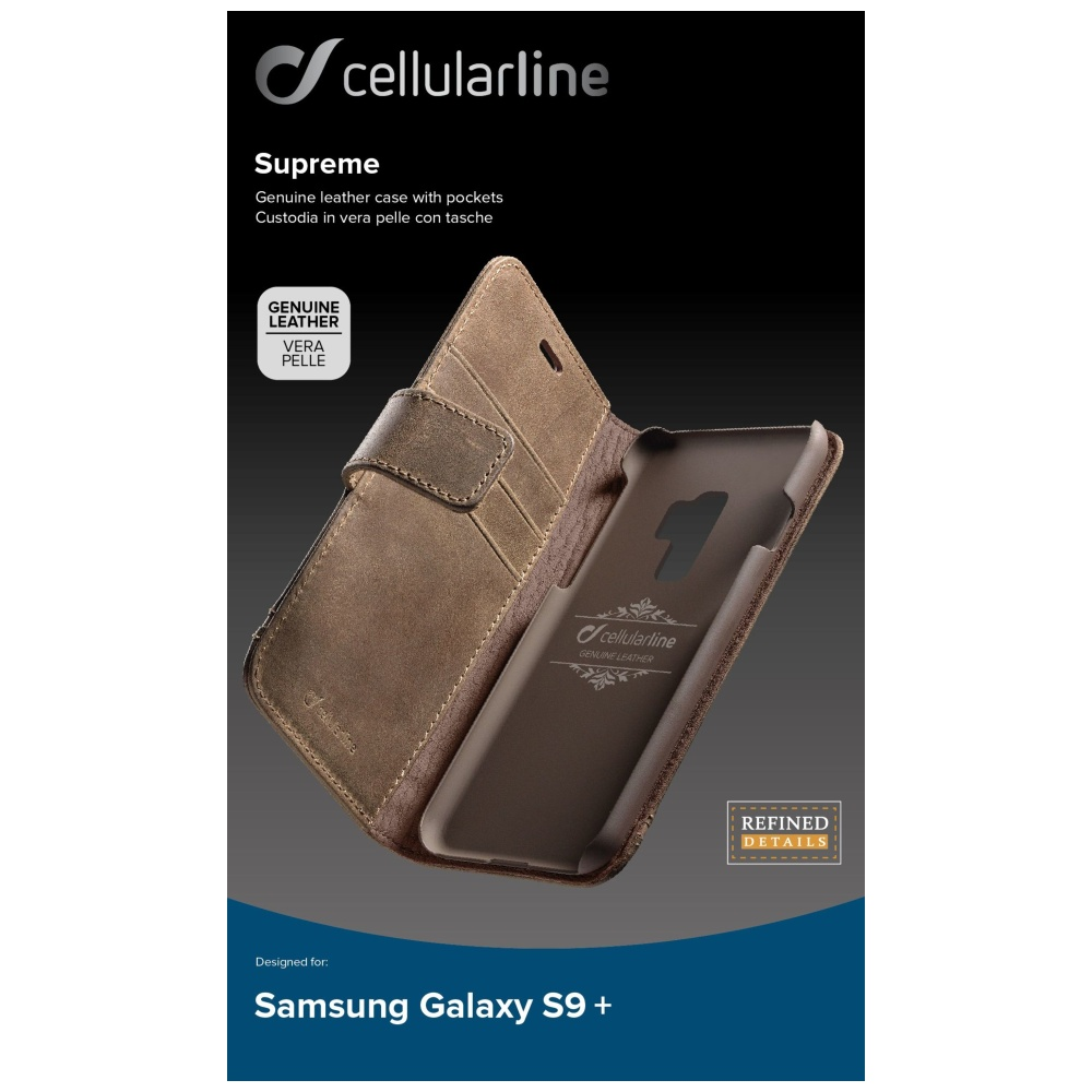 Prémiové kožené pouzdro typu kniha Supreme pro Samsung Galaxy S9 Plus, hnědé