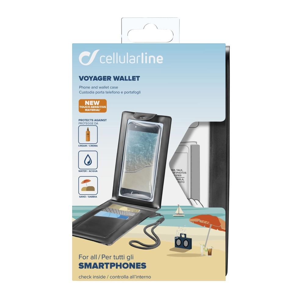 """Voděodolné pouzdro s peněženkou Cellularline VOYAGER WALLET do velikosti 6,3"""", černé"""