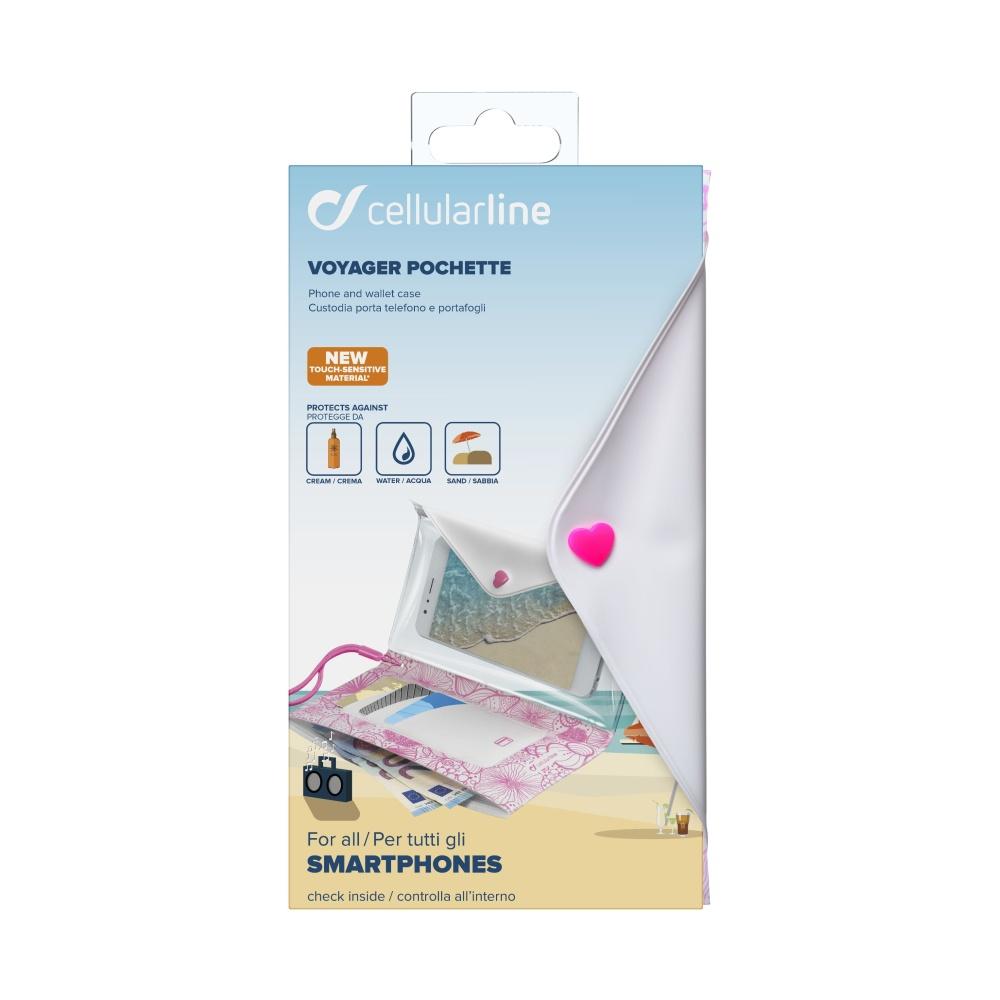 """Voděodolné pouzdro s peněženkou Cellularline VOYAGER POCHETTE do velikosti 6,3"""", růžové"""