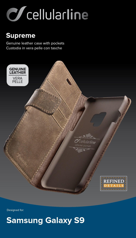 Prémiové kožené pouzdro typu kniha Supreme pro Samsung Galaxy S9, hnědé